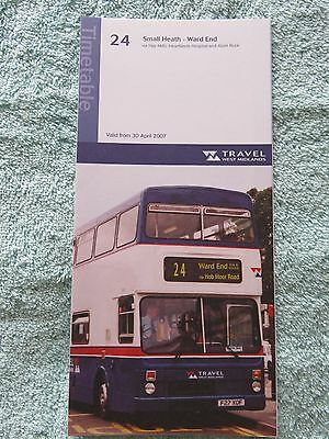 Travel West Midlands Bus Timetable Route 24, 2007