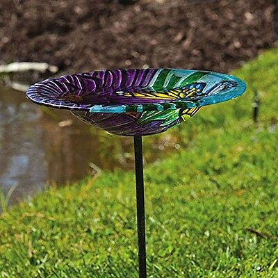 Gifted Living Evergreen Enterprises Monarch Floral, Glass Stake Birdbath