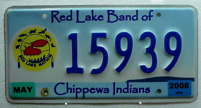Indianer Nummernschild USA/Red Lake Chippewa Tribe!921.