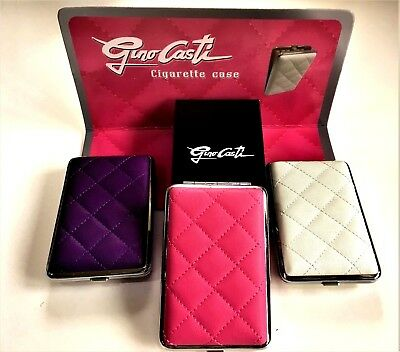KING SIZE Cigarette Case with QUILTED Leather Look 3 Colours GIFT Box Holds 10