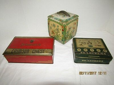 Antique Egyptian Tobacco Vintage Biscuit TINS Schrafft's Advertising Lot of 3
