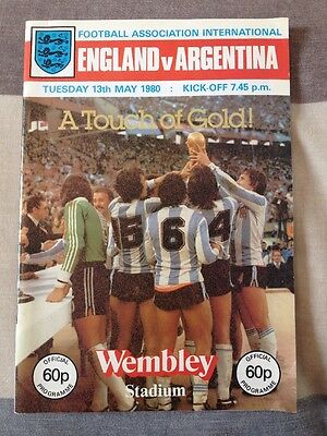 ENGLAND Vs ARGENTINA (Friendly Tuesday 13th May 1980) Fantastic Condition.