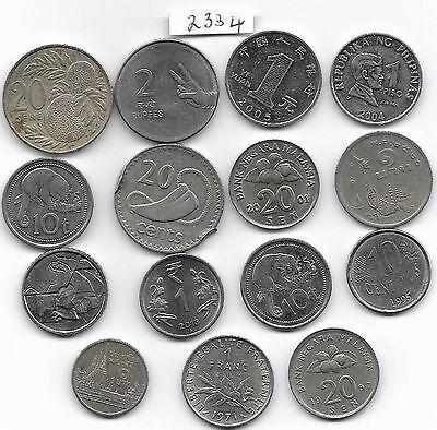 World x 15 Mixed Coins All Differant Silver Colour