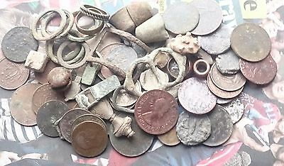 pile of metal detecting finds over 500gms
