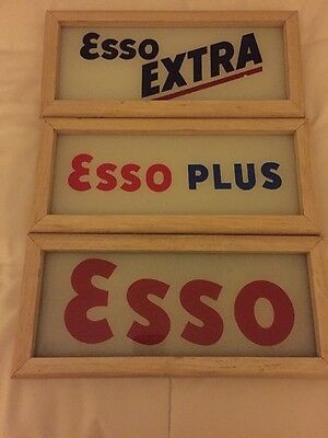 "Set Of Vintage Original Esso glass gas pump inserts 12 3/8"" x 5"""