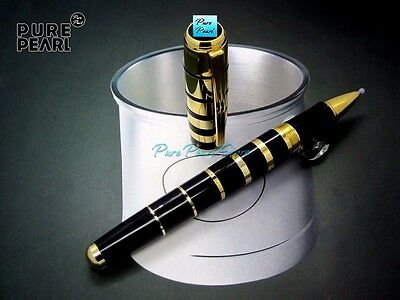MB roller ball pen Mont pen of George Bernard Shaw,  is a Black and Gold Color