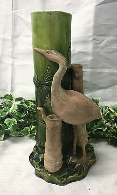 Beautiful Art Nouveau Bretby Pottery Truncated Bamboo & Heron Green Vase 11.5""