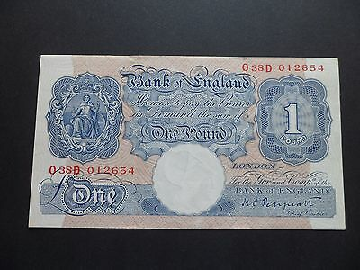 Wartime Issue  Bank Of England  £1 Pound Note  - K.o.peppiatt - O38D 012654