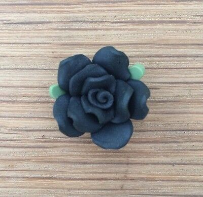 5 x POLYMER CLAY ROSE FLOWER BEADS - Black - 20mm - FIMO