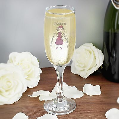 Personalised Cartoon Wedding Elder Lady Flute Glass - Any Name+Role - Favours