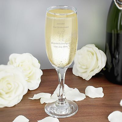 Personalised Champagne Flute, Flute Design - Any Name+Message - Free Delivery
