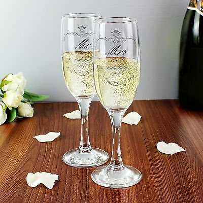 Personalised Ornate Swirl Couples Pair of Champagne Flute - Wedding Favours