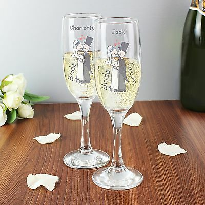 Personalised Cartoon Couples Champagne Flutes Pair - Wedding Gift, Favours