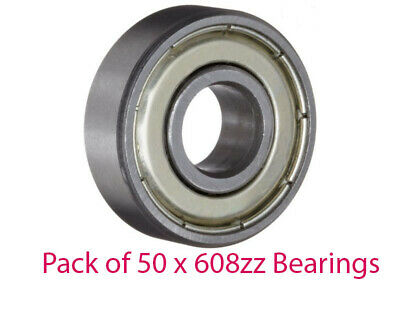Pack of 10 x 8mm Stub Axle Bearings 608zz 8mm x 22mm x 7mm