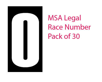 """Pack of 30 x White """"0"""" on a Black Background MSA Legal Race Numbers"""