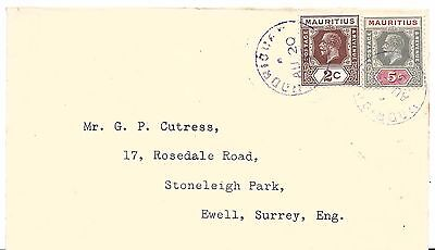 MAURITIUS Rodrigues Island 20 August 1937 Cover.  Very Scarce mark on cover