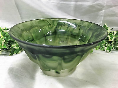 Beautiful Vintage Art Deco Davidson Green Cloud Glass Bowl 22cm Diameter 1930's