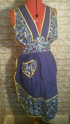 ORIGINAL VINTAGE 1950s COTTON FULL APRON PINNY,HOUSEWIFE, EXCELLENT CONDITION