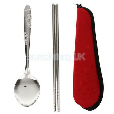 Stainless Steel Dinnerware Spoon+Chopsticks for Travel Outdoor Camping
