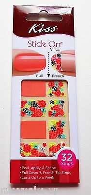 Kiss Stick-on Full & French Nail Strips Silk Peach Floral