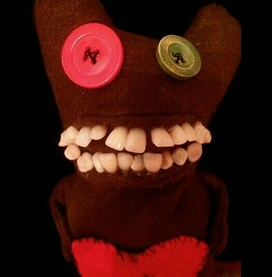 Toothy Monster handmade real teeth , Horror, Scary, Evil, Ugly Doll. OOAK RARE