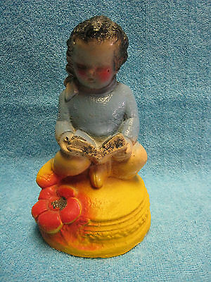 "Vintage  Carnival Chalkware  Girl Reading Book Approx. 6 1/2"" Tall"