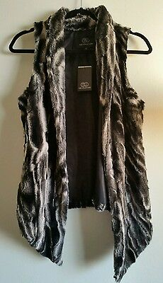 NWT TART COLLECTIONS Faux Fur Vest sleeveless NEW Black Gray White soft GORGEOUS