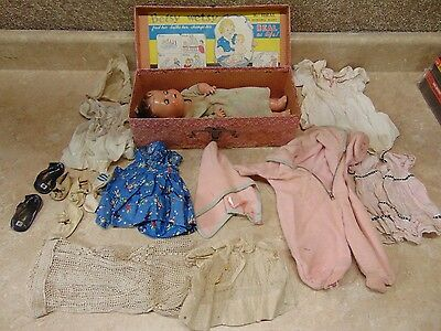 "(RARE) 1930s Betsy Wetsy Doll IDEAL 12"" with Original Travel Trunk"