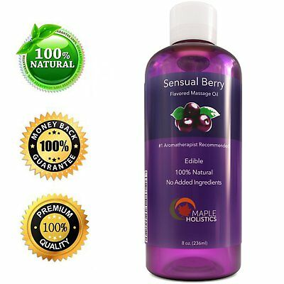 Sensual Berry Massage Oil - 8 Oz | Edible & Aromatherapy | 100% PURE NATURAL