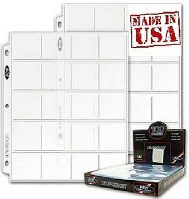 """Box of 100 BCW 20-Pocket Coins Album Pages Holds twenty 2"""" x 2"""" cards (#697)"""
