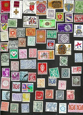 Seventy Stamps Depicting Coats Of Arms And Medals