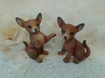 Vintage ceramic chihuahua dogs figurines, set of two mat brown dog figurines, JK