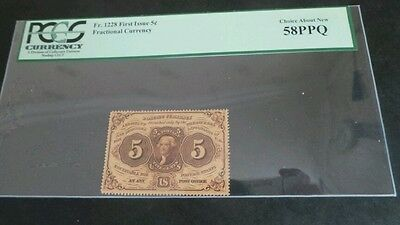Fractional Currency FR 1228 1ST Issue 5 Cents H/ GRADE CHOICE ABOUT NEW 58 PPQ