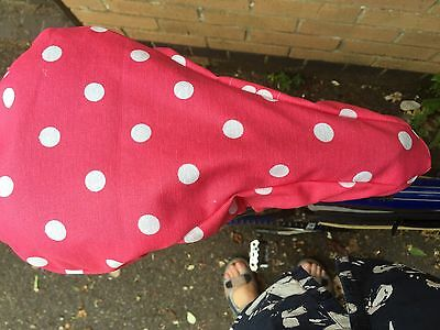 Bike Waterproof Seat Cover In Soft French Oilcloth Rose Spot Design elasticated