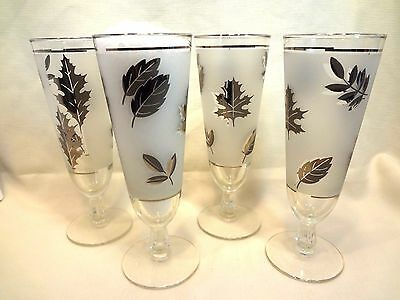 4 Retro Libbey Frosted Silver Foliage Pilsner Glasses Vintage Barware Glassware