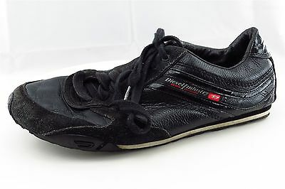 Diesel Men Shoes Size 9 Black Leather Fashion Sneakers