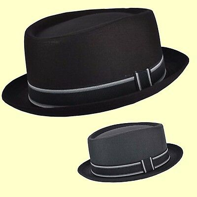Pork Pie Hat-Trilby Soul Indi Ska Hat- Breaking Bad Black or Grey Small Brim