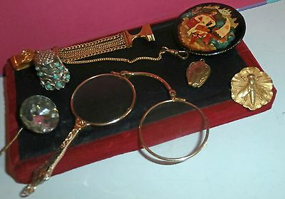Lot   Of  Vintage   Jewels    Brooch /pin /magnifying Glass/watch Fob