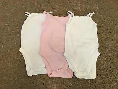 F&F Set of 3 Baby Girl White and Pink Strappy Bodysuits - 6-9 Months