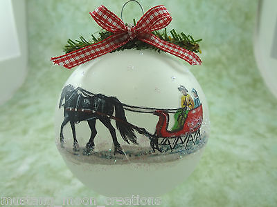 H009 Hand-made Christmas Ornament HORSE- Black friesian red sleigh