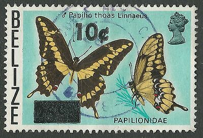 1980 Belize Sc #424/SG #560 - 10c on 25c Butterfly Double Head Cabbage CDS Used