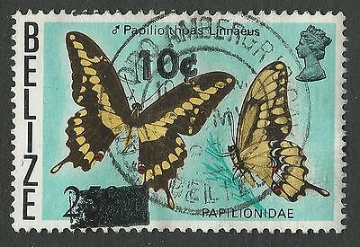 1980 Belize Sc #424/SG #560 - 10c on 25c Butterfly San Pedro Ambergris Caye Used