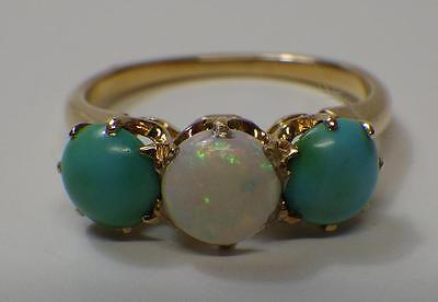 Antique Victorian 18k Gold, Turquoise & Opal Ring US 6 3/4 UK P