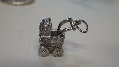 Lovely Sterling Silver Pram / Baby Carriage Charm