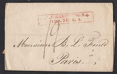 Hambourg Old Letter T.g.d. Hambourg R4 1807 Fevr 2 To Paris
