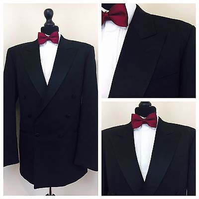 Mens Double Breasted Black Tuxedo Dinner Suit Jacket 40R  (T49)