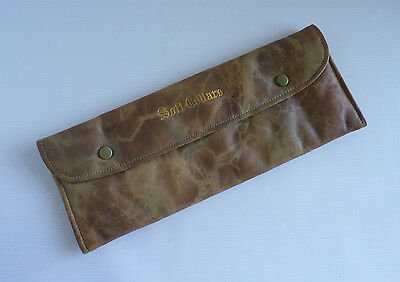 Vintage leather soft collar wallet, cream watered silk lining, super condition