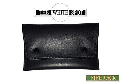 NEW Alfred Dunhill White Spot Button Black Leather Tobacco Pouch  PA2001