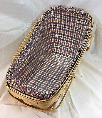 Longaberger Large Vegetable Basket With Plaid Liner and Protector 1998