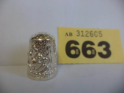 Vintage Continental / Scandinavian .925 Solid Silver Thimble with Ornate Decor
